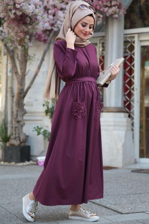 صورة اشيك فساتين محجبات , اروع تشكيله لفساتين المحجبات