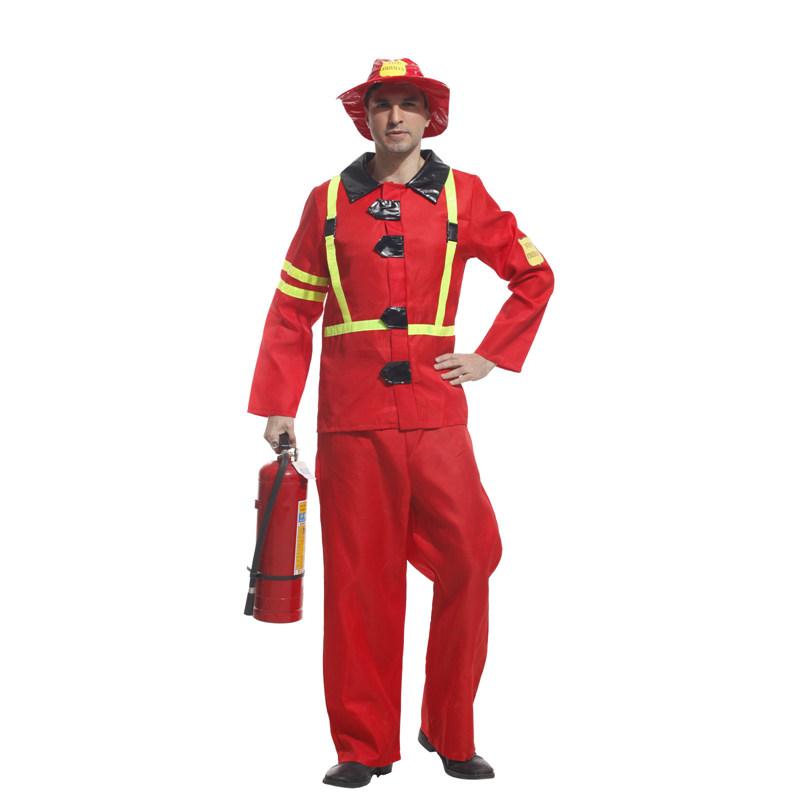 لبس رجل الاطفاء بدلة مقاومة الحريق حلوه خيال
