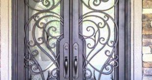 صورة ابواب حديد مع زجاج , شاهد اجمل تشكيله لابواب حديد مع زجاج