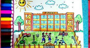 رسم مدرسة للاطفال , شاهد افكار الاطفال في التعبير عن المدرسه بالرسم