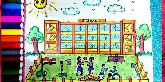 صورة رسم مدرسة للاطفال , شاهد افكار الاطفال في التعبير عن المدرسه بالرسم