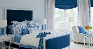 صورة غرف نوم باللون الازرق والابيض , كيف اجدد فى الوان غرفة النوم باستخدام لونين الابيض والازرق