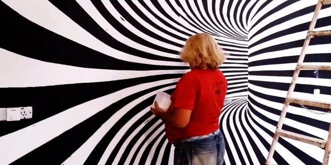 صورة رسم ثلاثي الابعاد على الجدران , رسومات ثرى دى تخطف الانظار